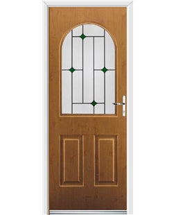Ultimate Kentucky Rockdoor in Irish Oak with Green Diamonds