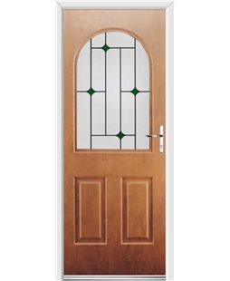 Ultimate Kentucky Rockdoor in Light Oak with Green Diamonds