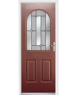 Ultimate Kentucky Rockdoor in Ruby Red with Linear Glazing