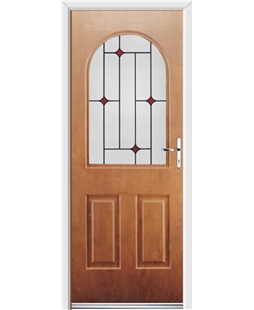 Ultimate Kentucky Rockdoor in Light Oak with Red Diamonds
