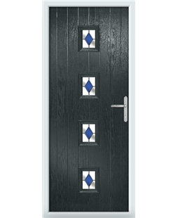 The Uttoxeter Composite Door in Grey (Anthracite) with Blue Diamonds