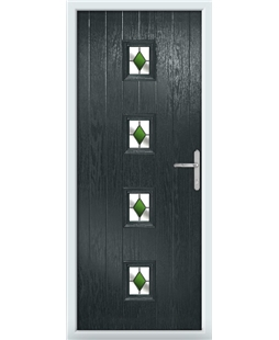 The Uttoxeter Composite Door in Grey (Anthracite) with Green Diamonds