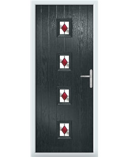 The Uttoxeter Composite Door in Grey (Anthracite) with Red Diamonds
