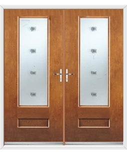 Vogue French Rockdoor in Light Oak with Abyss Glazing