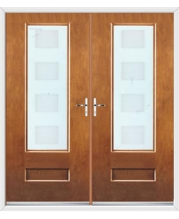 Vogue French Rockdoor in Light Oak with Cube Glazing