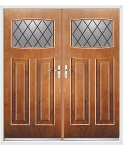 Newark French Rockdoor in Light Oak with Diamond Lead