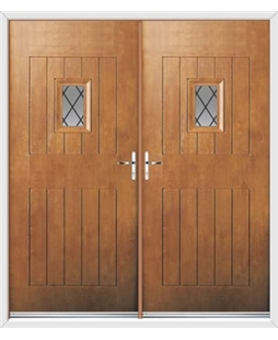 Cottage Spy View French Rockdoor in Light Oak with Diamond Lead