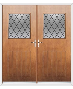 Cottage View Light French Rockdoor in Light Oak with Diamond Lead