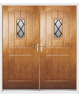 English Cottage French Rockdoor in Light Oak with Diamond Lead