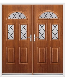 Tennessee French Rockdoor in Light Oak with Diamond Lead