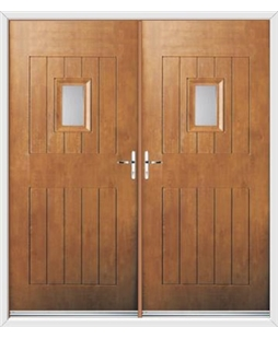 Cottage Spy View French Rockdoor in Light Oak with Glazing