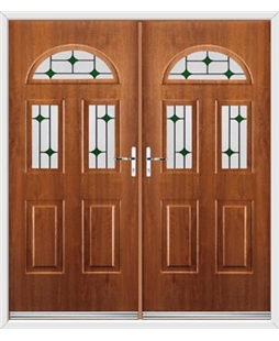 Tennessee French Rockdoor in Light Oak with Green Diamonds