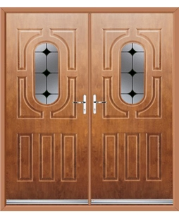 Arcacia French Rockdoor in Light Oak with Black Diamonds