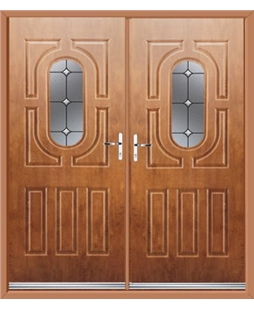 Arcacia French Rockdoor in Light Oak with Crystal Bevel