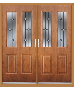 Jacobean French Rockdoor in Light Oak with Crystal Bevel