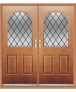 Kentucky French Rockdoor in Light Oak with Diamond Lead