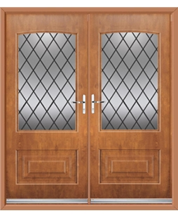 Portland French Rockdoor in Light Oak with Diamond Lead