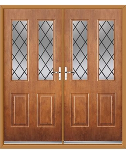 Jacobean French Rockdoor in Light Oak with Diamond Lead