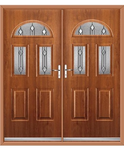 Tennessee French Rockdoor in Light Oak with Dorado Glazing