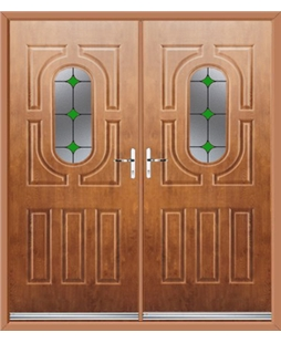 Arcacia French Rockdoor in Light Oak with Green Diamonds