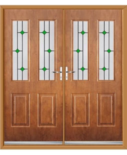 Jacobean French Rockdoor in Light Oak with Green Diamonds