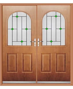 Kentucky French Rockdoor in Light Oak with Green Diamonds