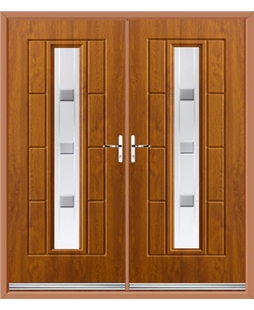 Vermont French Rockdoor in Light Oak with Grey Shades