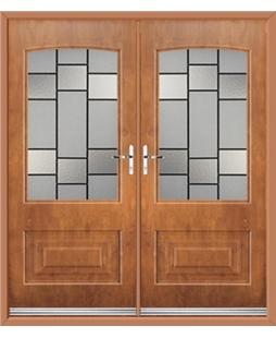 Portland French Rockdoor in Light Oak with Horizon