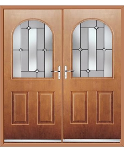 Kentucky French Rockdoor in Light Oak with Linear