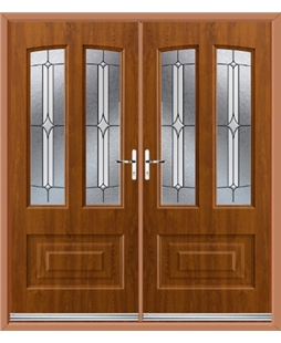Illinois French Rockdoor in Light Oak with Pinnacle