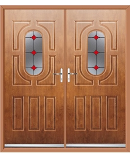 Arcacia French Rockdoor in Light Oak with Red Diamonds
