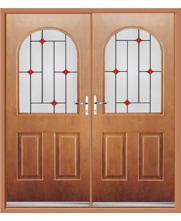 Kentucky French Rockdoor in Light Oak with Red Diamonds
