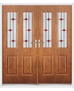 Jacobean French Rockdoor in Light Oak with Red Diamonds