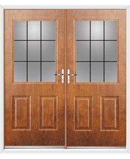 Windsor French Rockdoor in Light Oak with Square Lead