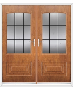 Portland French Rockdoor in Light Oak with Square Lead