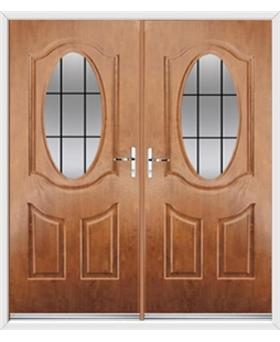 Montana French Rockdoor in Light Oak with Square Lead