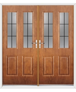 Jacobean French Rockdoor in Light Oak with Square Lead
