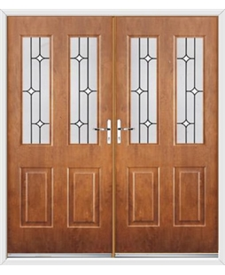 Jacobean French Rockdoor in Light Oak with White Diamonds