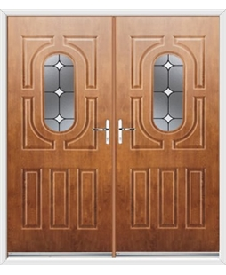 Arcacia French Rockdoor in Light Oak with White Diamonds
