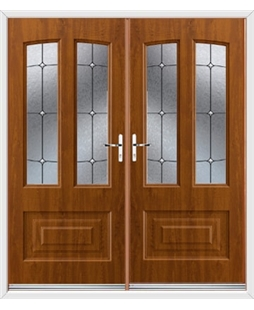 Illinois French Rockdoor in Light Oak with Trinity