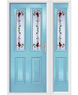 The Aberdeen Composite Door in Blue (Duck Egg) with Mackintosh Rose and matching Side Panel
