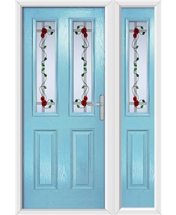 The Cardiff Composite Door in Blue (Duck Egg) with Mackintosh Rose and matching Side Panel