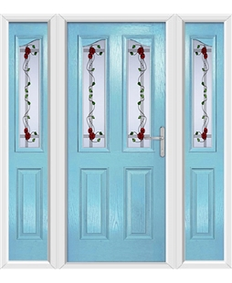 The Birmingham Composite Door in Blue (Duck Egg) with Mackintosh Rose and matching Side Panels