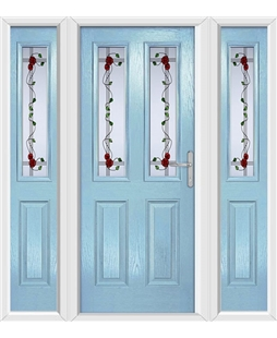 The Cardiff Composite Door in Blue (Duck Egg) with Mackintosh Rose and matching Side Panels