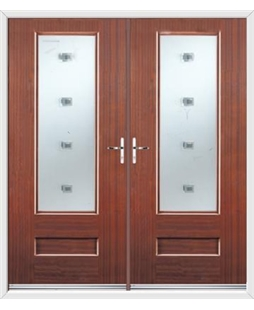 Vogue French Rockdoor in Mahogany with Abyss Glazing