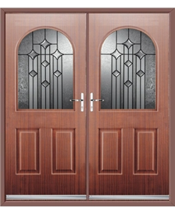 Kentucky French Rockdoor in Mahogany with Aquarius Glazing