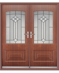 Portland French Rockdoor in Mahogany with Beacon
