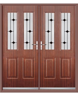 Jacobean French Rockdoor in Mahogany with Black Diamonds