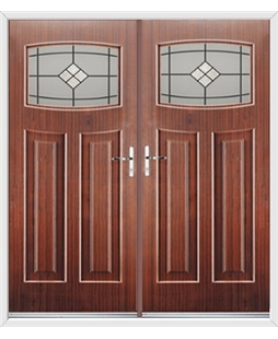 Newark French Rockdoor in Mahogany with Bright Star Glazing