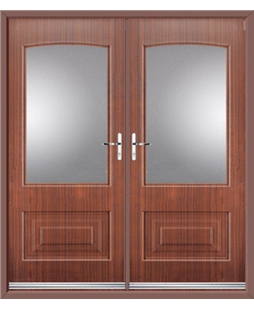 Portland French Rockdoor in Mahogany with Glazing
